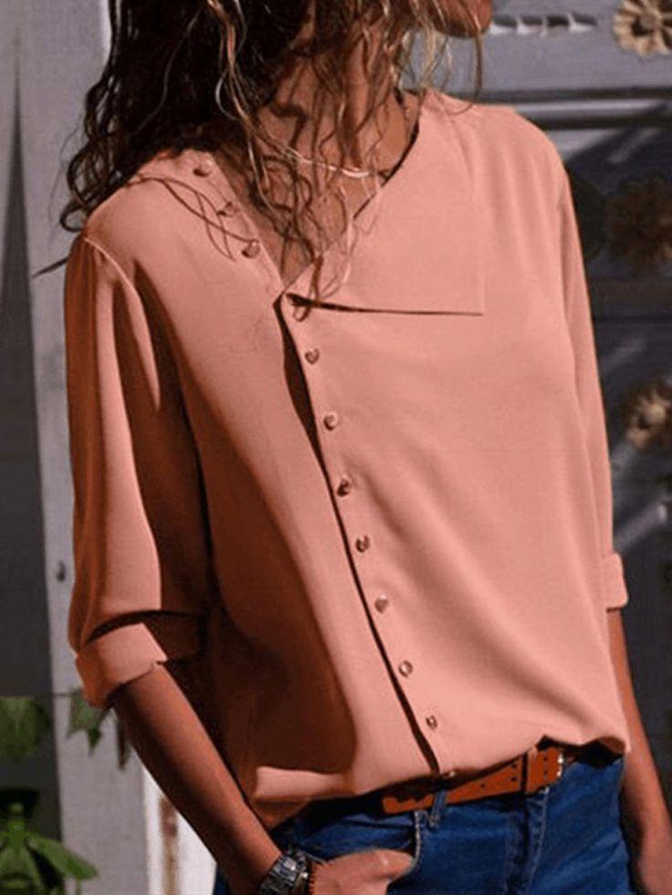 Only US$19.99, shop damen lässige basic-bluse mit knöpfen at Banggood.com. Buy… – Gertrude Drewel