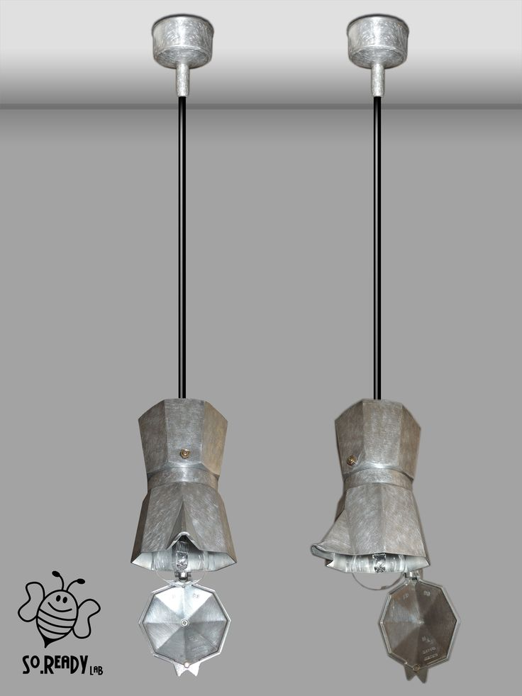 Lampade a sospensione, realizzate con #caffettiere #moka. #ecodesign #ecolamp #soreadystyle #upcycle #recycle #riciclocreativo - di So.Ready Lab - soreadylab.etsy.com