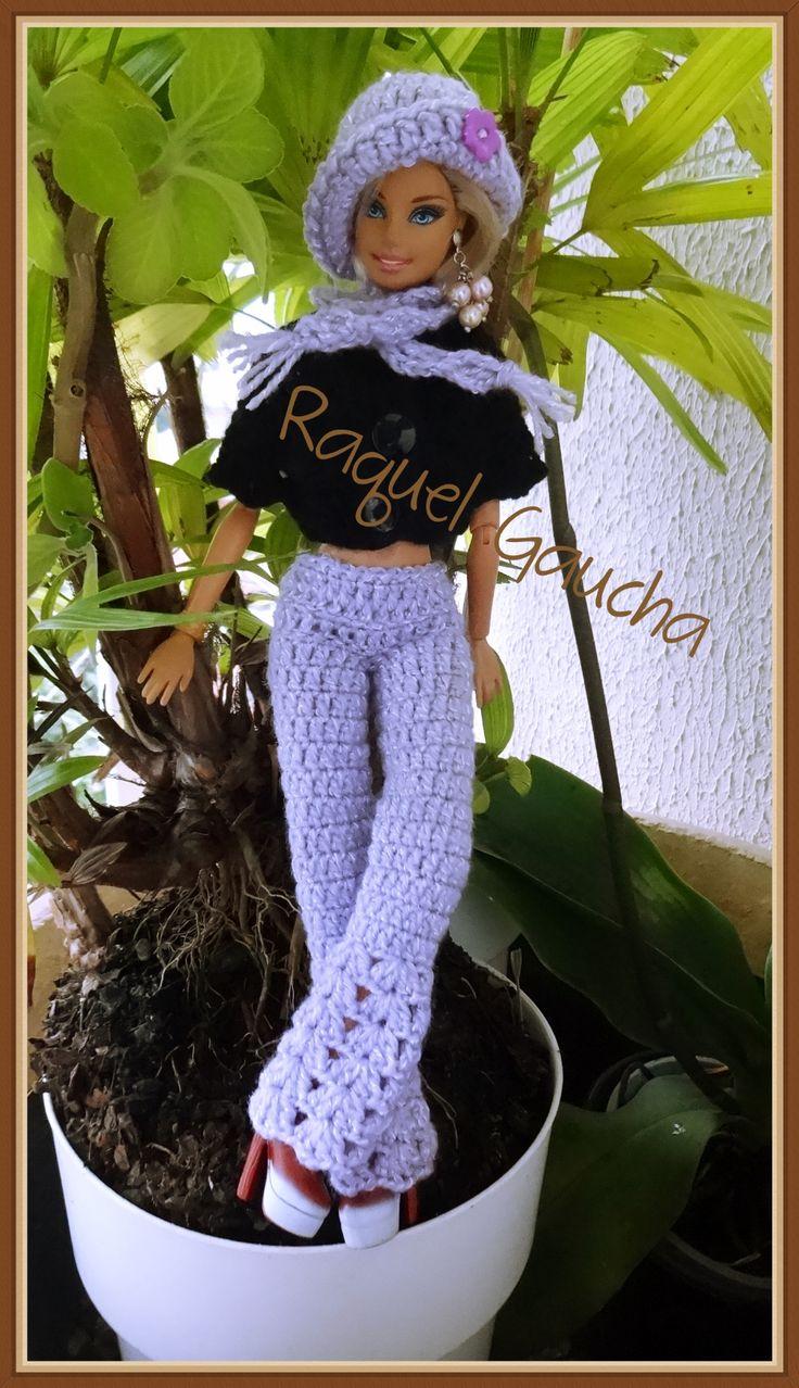 #Crochet Muñeca #Barbie #Doll #Roupa #Calça #Pants #Pantalon #Bufanda #Chalina #Cachecol #Sombrero #Chapéu #Lana #Blusa #Lã #RaquelGaucha