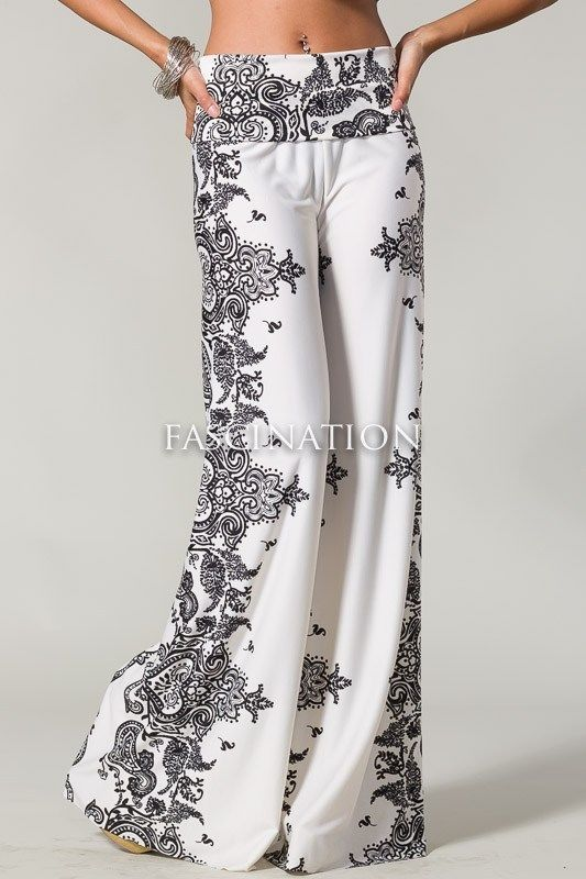 Sexy Fold Over Waist Wide Leg Paisley White Black Tall Yoga Palazzo Pants S M L