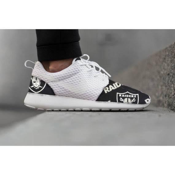 New Nike Roshe Run Custom Oakland Raiders Or Any Other Team White Black NFL Edition Mens Shoes Sizes 8 - 13