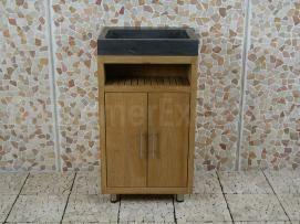Gezien bij Badkamerexclusief.nl  Badkamermeubel Raung Cabinet Teakhout 50 cm. bluestone