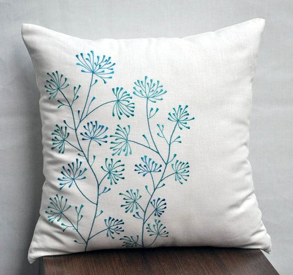 Cream Teal Pillow Cover, Decorative Pillow Cover, Throw Pilow cover, Cream Linen Pillow, Teal Ixora Embroidery, Floral, Modern
