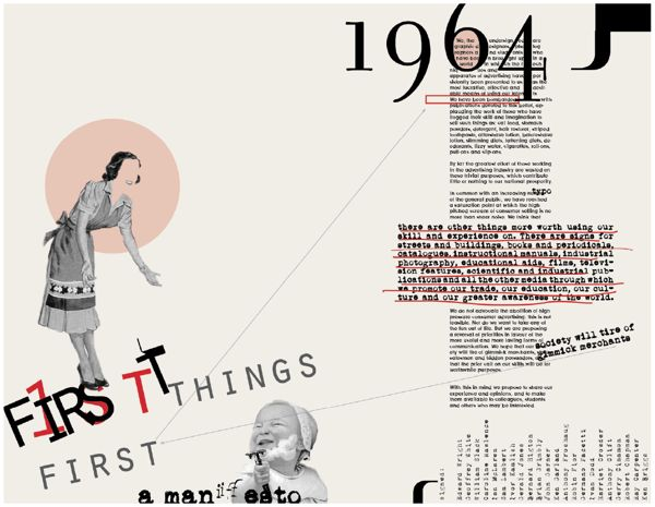 First Things First manifesto - Postmodern layout by Barbara Kaplowitz, via Behance