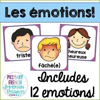 Emotion posters - French - les motions Emotions / les motions posters to use in your primary French immersion or Core French classroom! Includes: 12 different emotion posters - les motionsPlease email me at Primaryfrenchimmersion@gmail.com if you have any questions or if there is a way that I can improve this file for you!