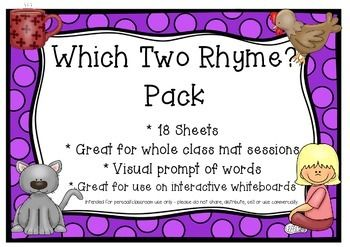 Which two rhyme? Pack18 pagesEach page has three cvc words, two of which rhyme.Perfect for Kindy mat sessions.Great for interactive whiteboards - kids can circle the two words that rhyme!More rhyming activites coming soon - follow my shop for updates!