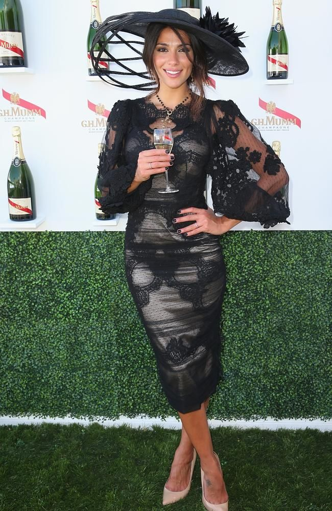 Pia Miller attends the G.H Mumm marquee on 2013 Victoria Derby Day at Flemington Racecourse.
