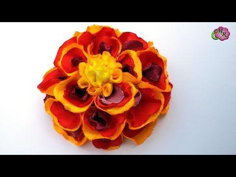 Заколка Бархатцы. Канзаши МК/ Чорнобривці зі стрічки 2,5 см/ Hairpin Marigold. DIY Kanzashi - YouTube