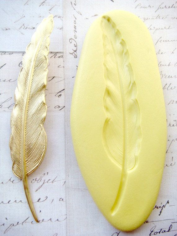 FEATHER (large) - Flexible Silicone Mold - Push Mold, Jewelry Mold, Polymer Clay Mold, Resin Mold, Craft Mold, Food Mold, PMC Mold
