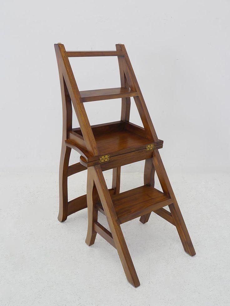 Treppenstuhl aus Walnussholz