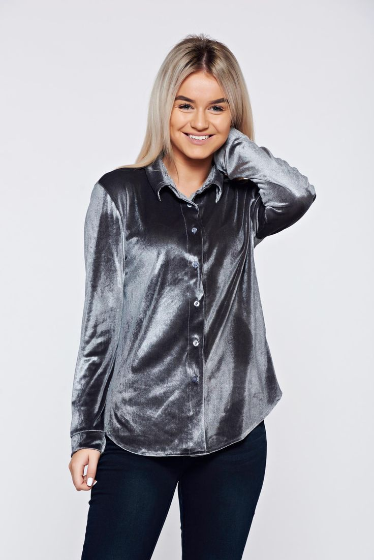 Easy cut grey casual velvet women`s shirt, women`s shirt, with buttons, pointed collar, long sleeves, easy cut, slightly elastic fabric, velvet