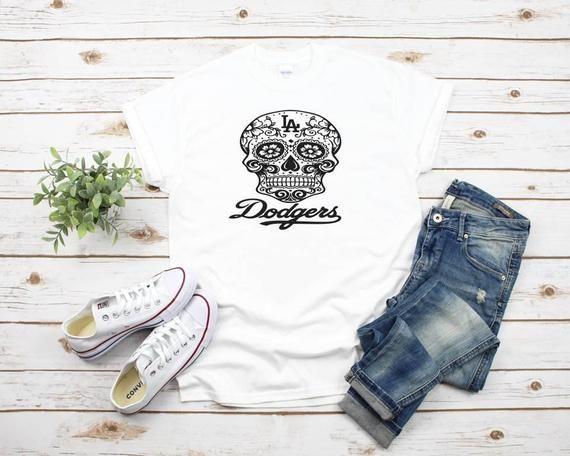 000dc665 Dodgers, Sugar Skull, Day of the Dead, Dia de Los Muertos, Los Angeles  Dodgers, LA, Unisex T-Shirt, Ladies Racerback #Ladies #TankTop #Racerback  #Tee ...