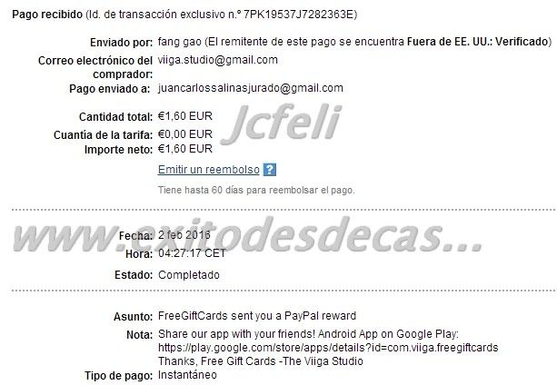 Comprobantes de Pago de Free Gift Cards | Dinero en la Red