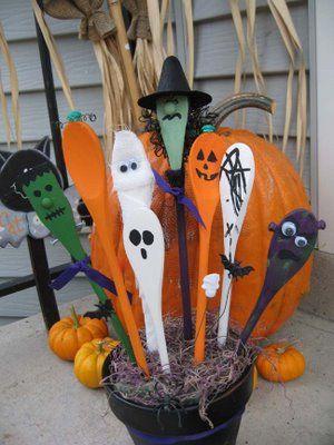 spooky Halloween wooden spoons