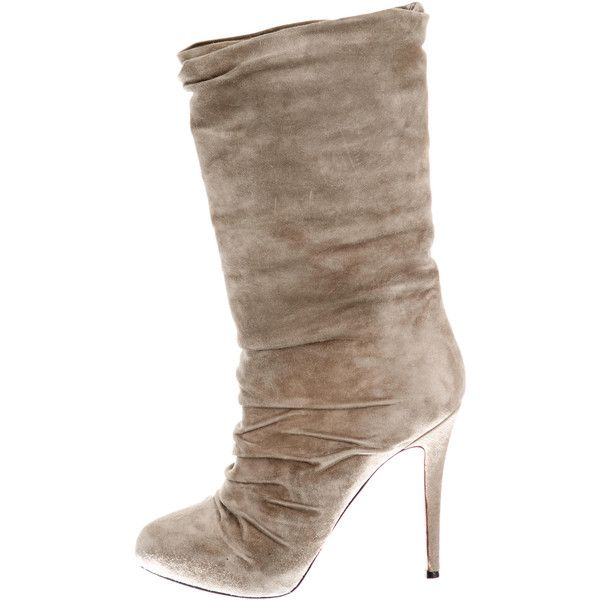 christian louboutin suede mid-calf boots