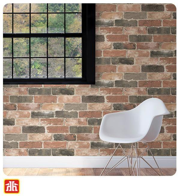 Faux Brick Wallpaper In 2020 Brick And Wood Reclaimed Brick Brick Wallpaper