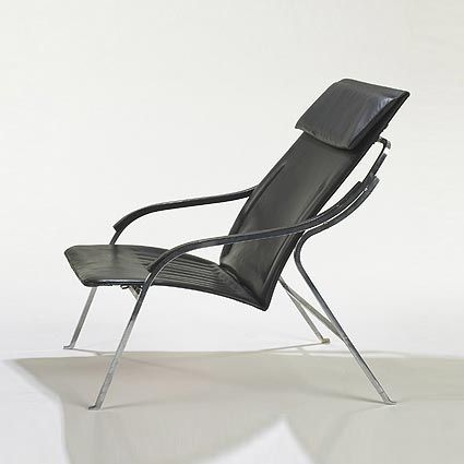 Marco Zanuso; Chromed Steel and Leather 'Fourline' Lounge Chair for Arflex, 1964.