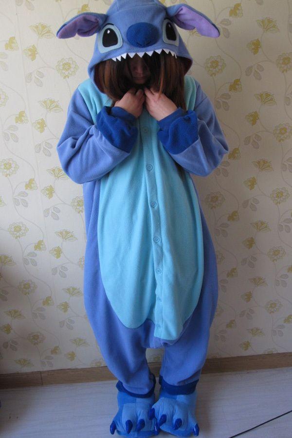 Adult Animal Kigurumi Pajamas Costume Cosplay pyjamas Blue Stitch Pink Stitch