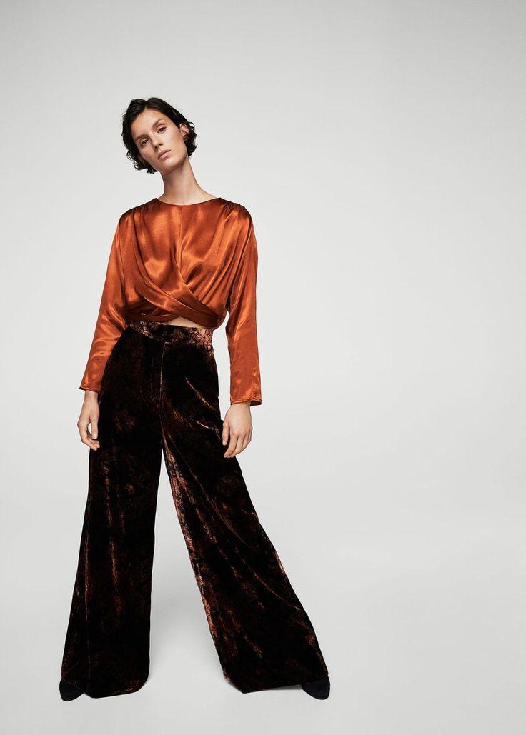 Velvet palazzo trousers | MANGO