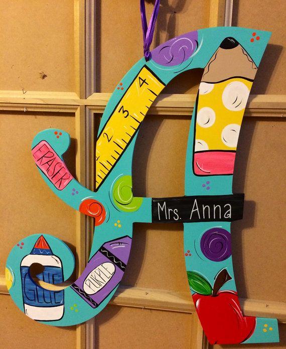 Teacher themed letter by JAGARToriginals on Etsy