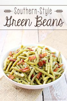 These Southern-Style Green Beans are sure to become a family favorite! The green beans are cooked long and slow to give you the BEST tasting green beans you will ever eat!! #BaconMonth2015: