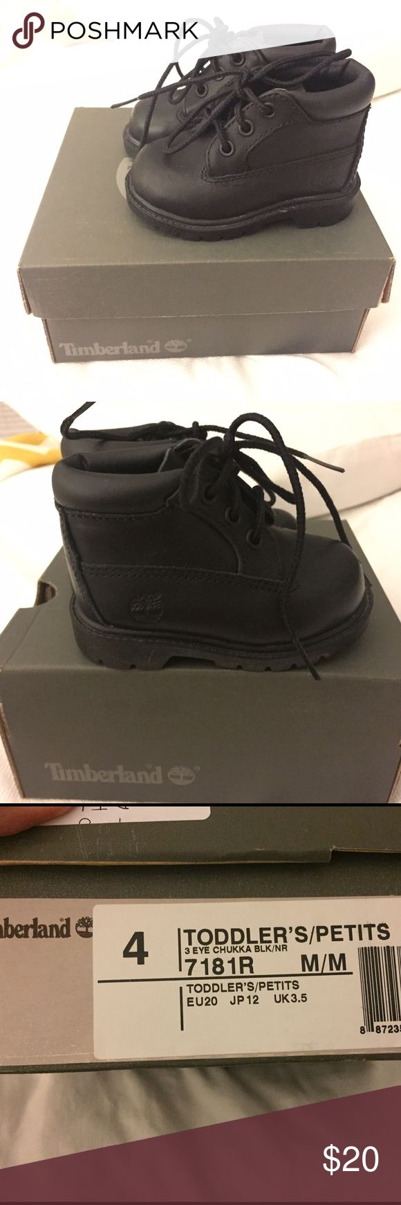 Toddler timberlands worn twice stored in box Size 4 toddler timberland black boots, great condition Timberland Shoes Boots