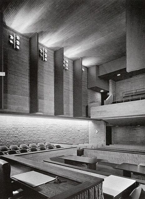 Courtroom Interior. Orange County Government Center. 1967. Goshen, New York. Paul Rudolph