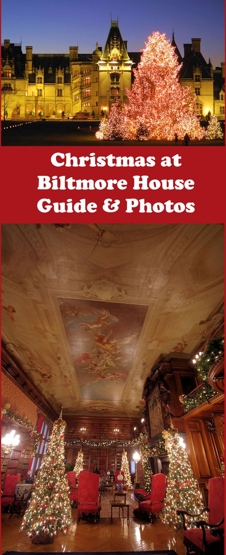 Christmas at Biltmore House is magical with 60 decorated trees inside the castle in Asheville, NC. Take a tour with our insider's guide: https://www.romanticasheville.com/biltmorechristmas.htm