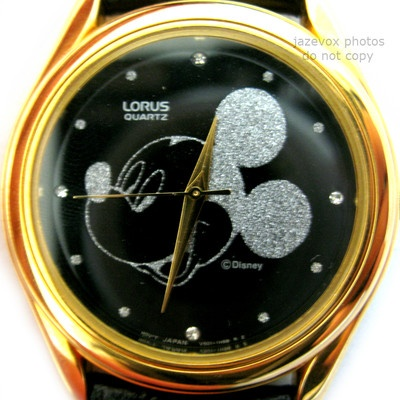*SOLD* We sell more MICKEY MOUSE WATCHES .. NEW VINTAGE LORUS MICKEY MOUSE BLACK Dial SILVER Face Mens Womens WATCH Leather $1 ... more watches at http://www.TropicalFeel.com