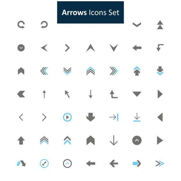 Nero e grigio freccia set di icone Vettore gratuito