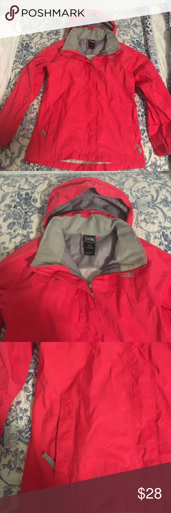 North Face Rain Jacket North Face girls pink rain jacket. Only a very small mark on the back of the sleeve. Very small and no other marks or scratches. Considering bundles with other items! North Face Jackets & Coats Utility Jackets