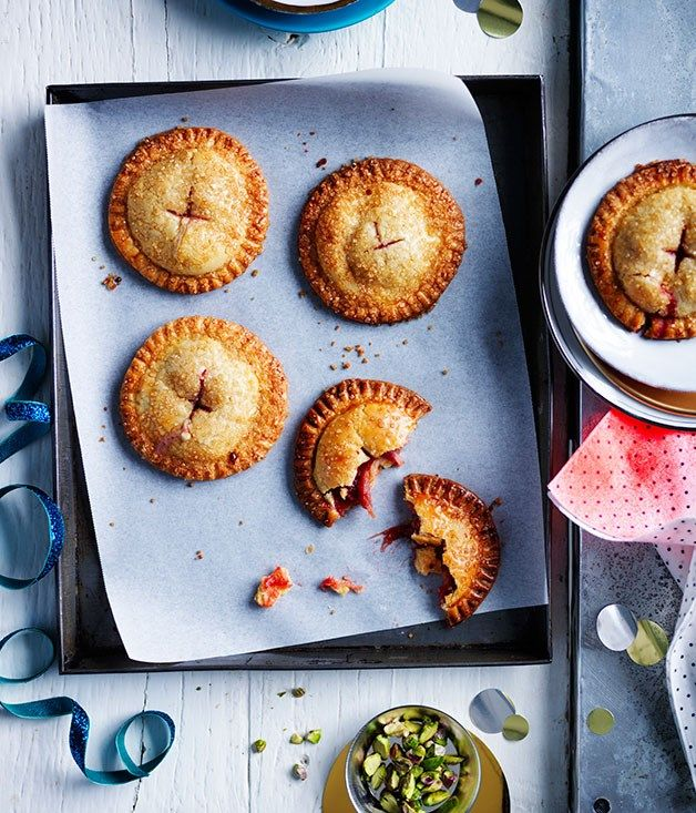 Australian Gourmet Traveller recipe for sugar-crusted rhubarb hand pies. #SugarCrustedRhubarbHandPies http://www.gourmettraveller.com.au/recipes/recipe-search/feature-recipe/2014/11/sugar-crusted-rhubarb-hand-pies/