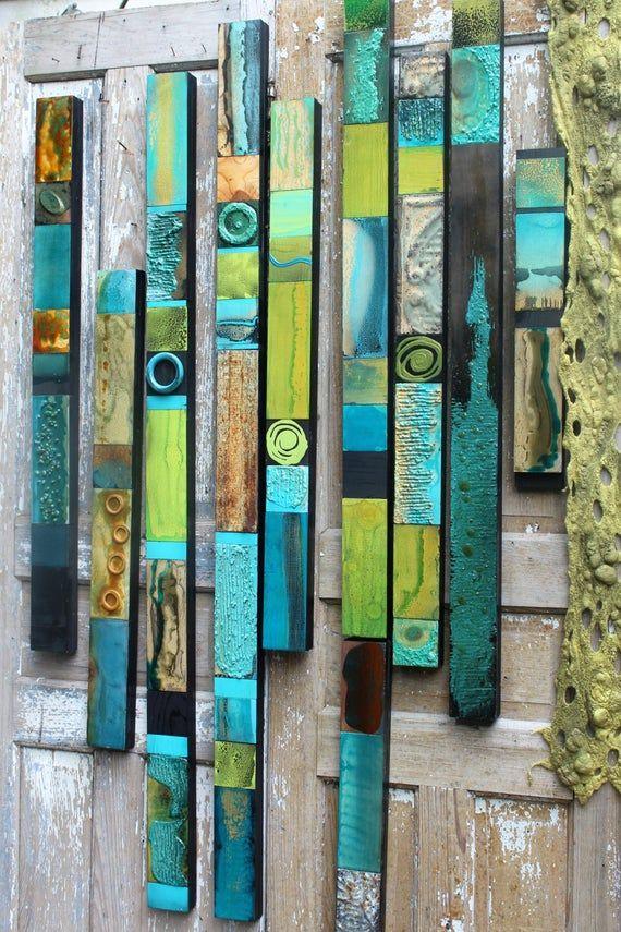 Mid Century Modern Turquoise Rain Forest glazed wood Tin Tile Collage Soul Totems Buy any No. or Set. Boho Hippie Folk Primitive Garden