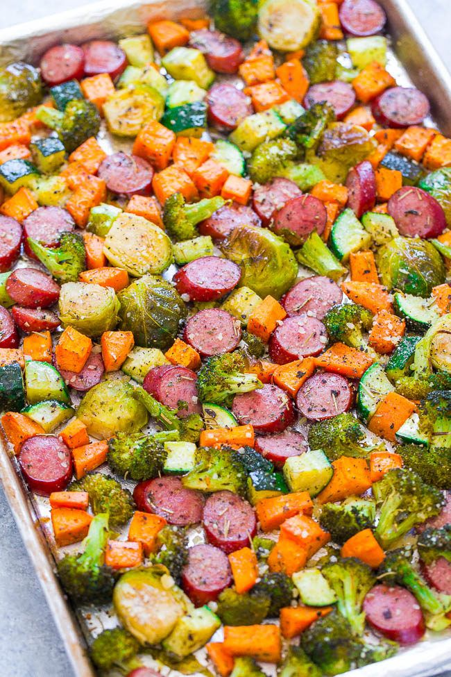 Sheet Pan Turkey Sausage and Vegetables – An EASY, one-pan recipe the whole family will love!! Seasoned crisp-tender veggies, juicy sausage, and Parmesan cheese for the DELISH dinnertime WIN!! If you