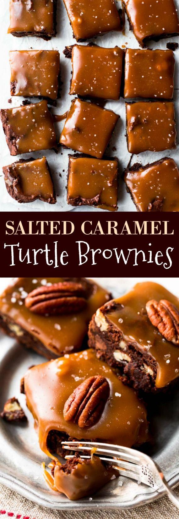 How to make salted caramel turtle brownies with homemade salted caramel and one bowl brownies!! Recipe on sallysbakingaddiction.com