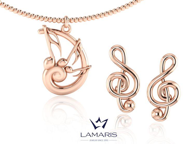 Set muzical, pandantiv si cercei din aur roz.