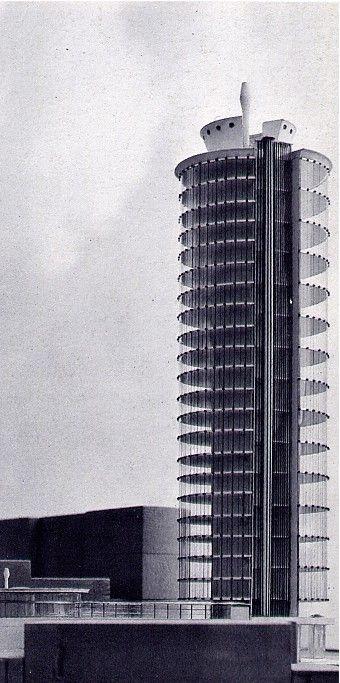 1955_ TORRE PER UFFICI Genova – Architettura: Angelo Mangiarotti e Bruno Morassutti Strutture: Aldo Favini