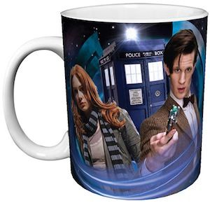Doctor Who and Amy Pond on a coffee mug with the Tardis in the background