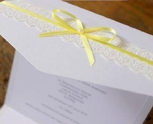 lemon yellow pocket lace vintage wedding invitation by www.els-design.com UK