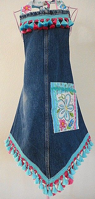 Cute apron made from leg of some jeans... Less all the frilly embellishments.  I like the point.