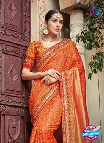 Now Saravika 718 Orange Georgette Wedding Saree On Best Price From New