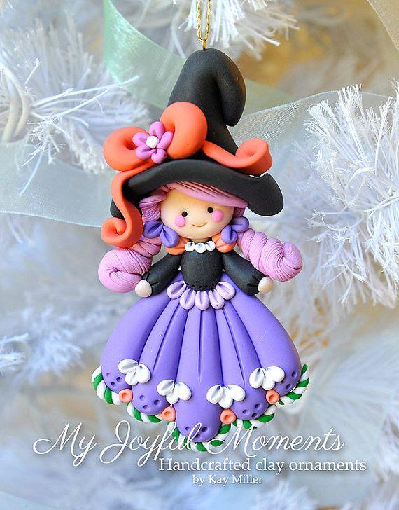 Polímero artesanales arcilla Halloween bruja por MyJoyfulMoments