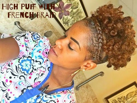The French Braided High Puff Read the article here - http://www.blackhairinformation.com/general-articles/hairstyles-general-articles/french-braided-high-puff/ #naturalhairstyles