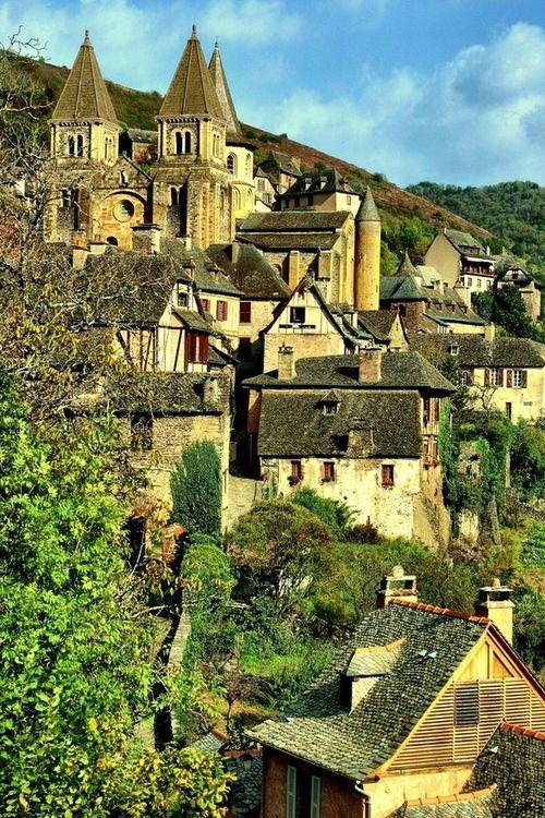 Medieval Village, Conques, France: Places To Visit, Beautiful Village, Unesco Heritage, Conqu France, Stunning Places, Medieval Village, Travel Photos, Beautiful Places, Heritage Site