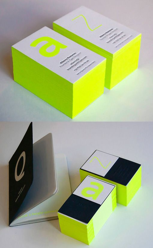 Bright Neon Typography And Edge Painting On A Business Card For A Font Designer