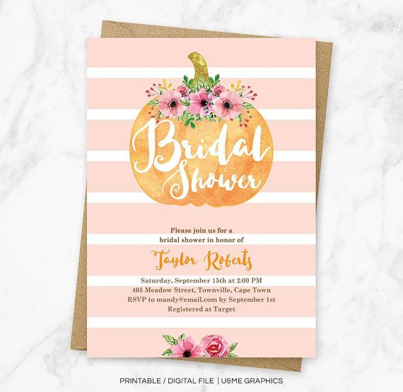Fall Bridal Shower Invite Autumn Bridal Shower Invitation