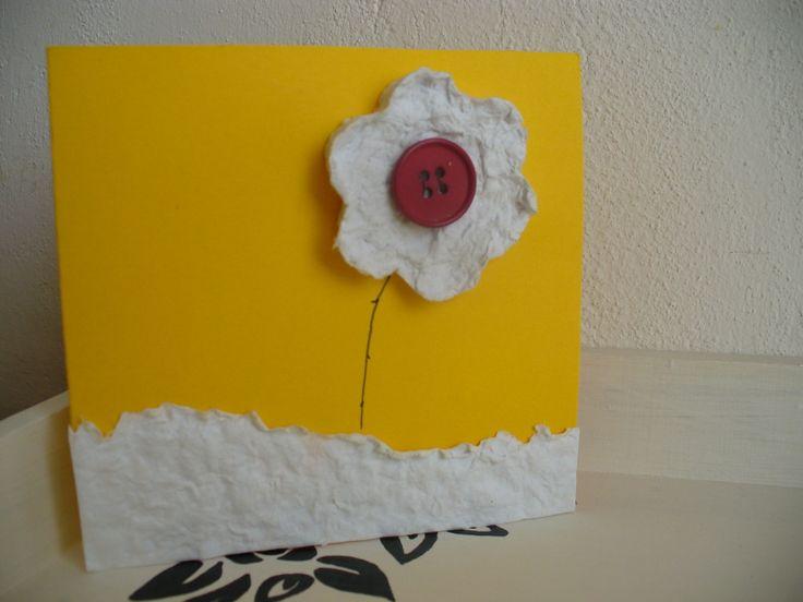 Nevadnoucí kytička otevírací přání 10x10 cm použito - papír, ozdoba z ručně dělaného papíru, knoflík