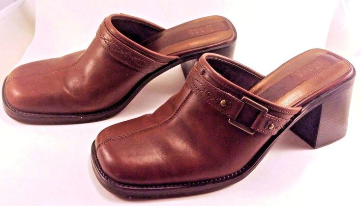 BASS Womens Mules Clogs 7 Leather Upper Slip On JUPITER BROWN Buckle Shoes Slide #Bass #CLOG