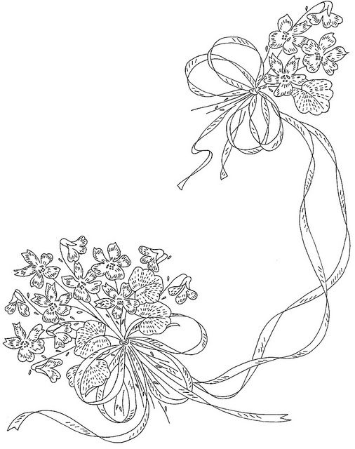 Embroidery Patterns & Stitches - violets & ribbons from http://www.flickr.com/photos/48068610@N06/4813628362/in/pool-341081@N20