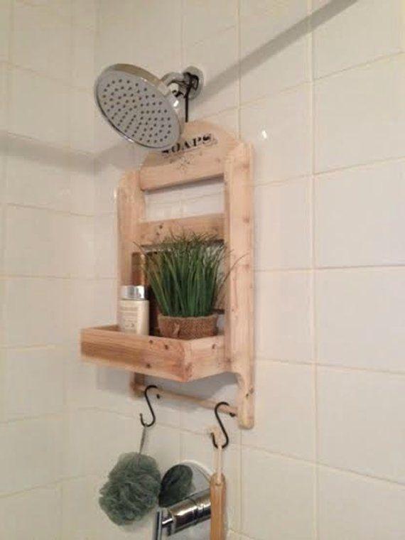 Shower Head Shower Caddy Reclaimed Wood Shower Organizer